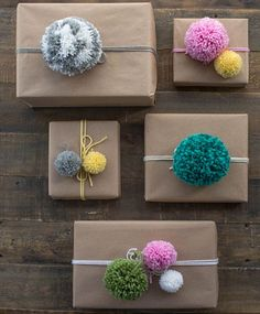 Use colourful pom-poms to decorate Christmas gifts