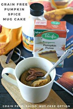 This Pumpkin Mug Cake is made with a handful of healthy ingredients and is the perfect sweet treat at the end of a crisp Fall day Gluten Free and Paleo pacificfoods Paleo Sweets, Paleo Dessert, Sweets Recipes, Whole Food Recipes, Paleo Recipes, Yummy Recipes, Free Recipes, Quick Dessert, Cooking