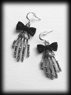 Skeleton Hand Gothic Earrings - Antique Silver - Black Bow by WhisperToTheMoon on Etsy