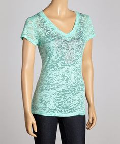 Loving this Mint Beaded Burnout V-Neck Tee on #zulily! #zulilyfinds