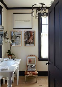 black doors and trim with white walls