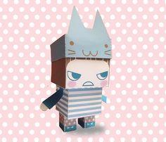 DIY  - Paper Toy Box  - Girl with Cat Hat- Printable PDF 300dpi digital file