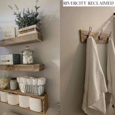 Farmhouse 4 Piece Bathroom Set, 3 shelves, towel holder, floating shelves