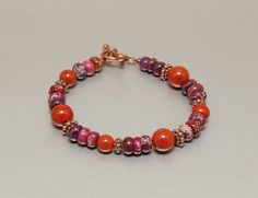 Your place to buy and sell all things handmade 70's Style, Red Jasper, Hippie Jewelry, Shades Of Purple, Gemstone Beads, Red And Pink, Red Color, Robin, Beaded Bracelets