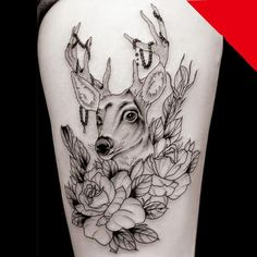 Little Deer with Rose temporary tattoos for arms by Coolfashion4u