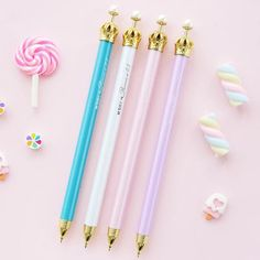 These beautiful crown mechanical pencils are perfect for planning, for work, home, desk or for school. They will be a beautiful addition to your pen collection! They come in 4 different colors : Teal, Kawaii Stationery, Stationery Items, Kawaii Pens, Cute Pens, Pen Collection, Planner Supplies, Planner Ideas, Art Supplies, Cute School Supplies