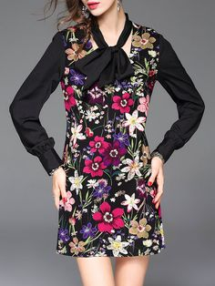 Floral A-line Casual Long Sleeve Mini Dress with Scarf