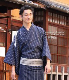 Japanese Men/'s Traditional YUKATA Summer KIMONO Obi Sandal Set JAPAN C-8 Navy