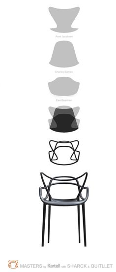 My Next chair to own! Via Kartell | The Kartell Masters Chair is three designer chairs in one. If you look closely, you can see the silhouettes of the Series 7 by Jacobsen, the Tulip by Saarinen, and the Eiffel Chair by Eames
