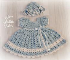 Bebé y vestido azul niño niña a juego con volantes Hat