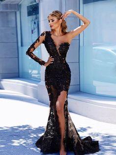 0328c19880 One Shoulder Mermaid Prom Dress Black Lace Long Sleeve Prom Dresses Long  Evening Dress AMY1157