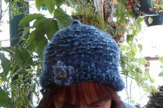 Pony Tail Hat in Blue Crochet