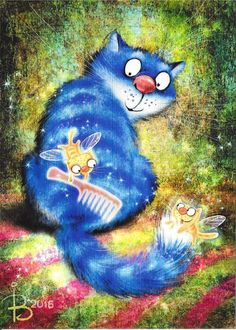 New 2016 Postcard Cats Zenyuk Irina Silly Cats, Crazy Cats, Cats And Kittens, Image Chat, Gatos Cats, Arte Popular, Blue Cats, Cat Drawing, Whimsical Art
