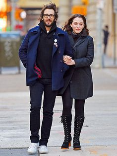 Josh Groban and girlfriend Kat Dennings seen out in Tribeca after lunch at Bubby's on Dec. 31, 2014 in NYC.