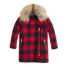 For little lumberjacks (or is it lumberjills?) in training: a toasty wool coat in classic buffalo check with removable faux-fur trim. <ul><li>Hits at midthigh.</li><li>Wool.</li><li>Zip closure.</li><li>Slant pockets.</li><li>Lined.</li><li>Dry clean.</li><li>Import.</li><li>Online only.</li></ul>