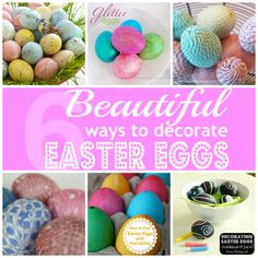 We have an early Easter this year.  Don't let it sneak up on you!  Today I am sharing 6 beautiful ways to decorate Easter Eggs. If you are looking for more Easter ideas try my Chalkboard eggs, Fabric secret pocket eggs and use the egg carton to make these Egg Carton Flowers! How to dye eggs with food coloring and Silk Tie-Dyed Easter eggs and by Skip to my Lou Chalkboard...