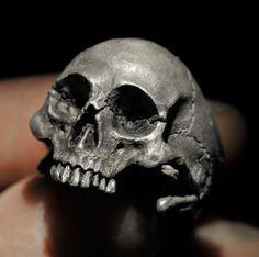Skull RingHalf Jaw Mens Silver Skull Ring Biker ring by DeadRings