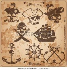 pirate skull vintage vector set.