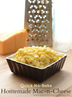 Easy no-bake homemade Mac-n-Cheese made with real ingredients and no neon orange powder :)