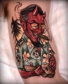 Satan On Vacation by @varotattooer at Lighthouse Tattoo in Seoul South Korea. #devil #satan #skulls #hawaiinshirt #ukuele #varotattooer #lighthousetattoo #seoul #southkorea #tattoo #tattoos #tattoosnob