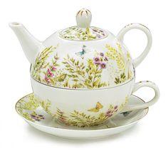 NEW Butterfly Teapot Duo Stacking Cup Saucer 16 oz burton + BURTON Gift Boxed #burtonBURTON