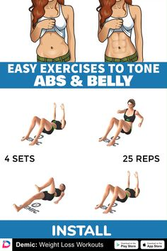 Easy Exercises to Tone Abs and Belly - Gesundheit und schönheit Fitness Workouts, Gym Workout Videos, Gym Workout For Beginners, Fitness Workout For Women, Easy Workouts, At Home Workouts, Week Workout, Full Body Gym Workout, Toned Abs
