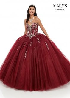 Mary's Quinceanera Radiant tulle and glitter tulle ball gown with a strapless sweetheart bodice that has been fully embellished with shining metallic embroide Gold Dama Dresses, Burgundy Quinceanera Dresses, Mexican Quinceanera Dresses, Ball Gown Dresses, Dressy Dresses, Pageant Dresses, Quince Dresses Burgundy, Poofy Prom Dresses, Party Dresses