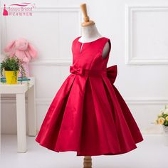 Red Satin Cute Flower Girls Dresses For wedding And Party Jewel With Charming Bow vestido longo Real In Stock  ZF017