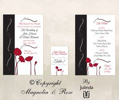From the 'Poppies Black, White, Red' couture collection. Wedding Invitations, RSVP, Map/Directions, Menus, Table and Favour/Decor Swing Tags.  Order/Buy online.  Feel free to contact for any questions.  | © Julinda at Magnolia & Rose Weddings