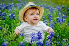 Baby in the Texas Bluebonnets | New Braunfels Childrens' Photographer