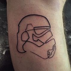 "A stylistic outline of a stormtrooper. | 28 ""Star Wars"" Tattoos That Will Awaken The Force In You"
