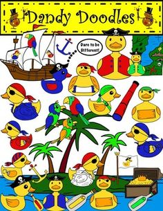 Perfect Pirate Duckies for the Pirate-themed Classroom or for cute center activities.  45 PNG IMages.  $