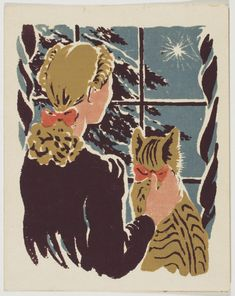Philadelphia Museum of Art - Collections Object : Christmas Card by Cynthia W. Iliff, also known as Cynthia Iliff Koehler Vintage Christmas Images, Retro Christmas, Christmas Cats, Vintage Holiday, Illustration Noel, Christmas Illustration Design, Illustration Children, Girl Illustrations, Vintage Cartoons