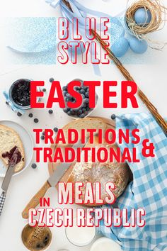 Easter Traditions in Czech Republic in HiRes Images Table with Easter traditional meal in Czech Republic, eggs, sweet yeasty bread-mazanec and pomlazka. Easter Symbols, Easter Monday, Brunch Table, Easter Traditions, National Holidays, Blue Style, Easter Recipes, Blue Fashion, Czech Republic