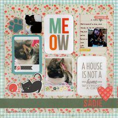 #papercraft #scrapbook #layout.  *Sadie* - Scrapbook.com - Cat SN@P! Set