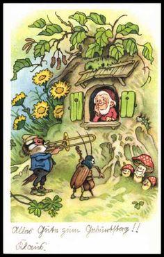 Ansichtskarte / Postkarte Glückwunsch Geburtstag, Zwerg, Maikäfer, Pilz