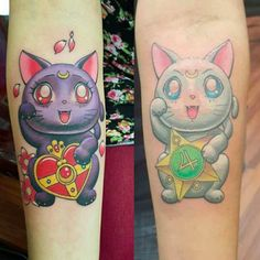 These adorable tattoos of Luna and Artemis waving at each other: