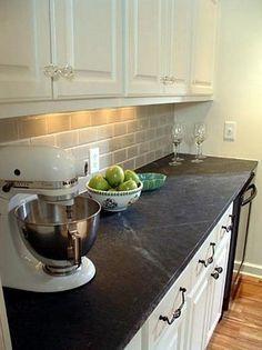 #soapstone kitchen countertops | Image via: Stone Center