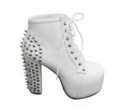 Amazon.com: 5Sheepgs Womens spike stud lace up high block chunky heel platform shoes booties boots: Clothing
