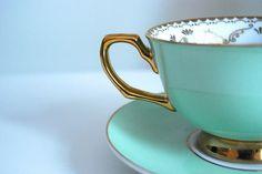 Blue water tea cup