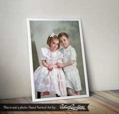 A beautiful portrait of brother and sister posing for a photo. This is a historic photo that has been digitally edited and remastered before being hand painted to bring it back to life. Picture Painters