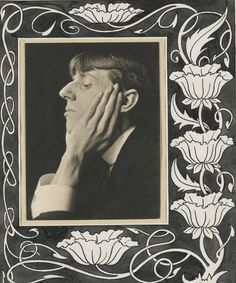 Frederick Henry Evans  1853-1943  AUBREY BEARDSLEY  platinum print, on a hand-ruled mount, signed and annotated on the mount, a Pen and Ink Floral Border by BEARDSLEY affixed to the mount, 1894;