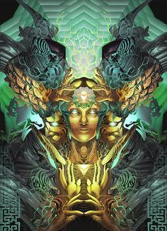 Triumvirate by George Atherton Psy Art, Music Artwork, Visionary Art, Ancient Aliens, Psychedelic Art, Fractal Art, Fractals, Sacred Geometry, Game Art