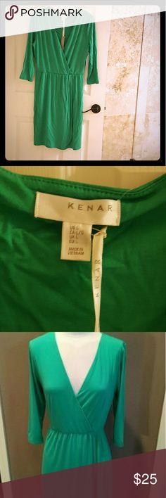 Kenar green wrap dress NWT Jungle Green classic wrap dress. 3/4 sleeve length, flattering cut, Soft jersey material Kenar Dresses Midi