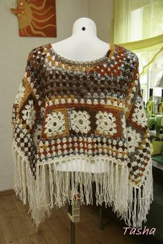 Selbstgemachter Gehäkelter 02. Poncho  Boho Style UNIKAT