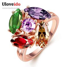 Find More Rings Information about Fashion Mystic Topaz Flower Ring Wedding Jewelry Gifts For Women Ladies Jewellery Rose Gold Plated CZ Diamond Rings Style R048 8,High Quality gift design,China gift camera Suppliers, Cheap gift accessories from ULOVE Fashion Jewelry on Aliexpress.com