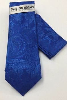 Stacy Adams Tie & Hanky Solid Royal BluePaisley Men's Hand Made 100% Microfiber #StacyAdams #Tie