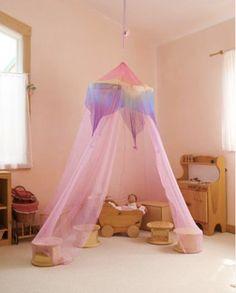 Rose Rainbow Canopy Girl's Bed Canopy Waldorf Silk by SarahsSilk