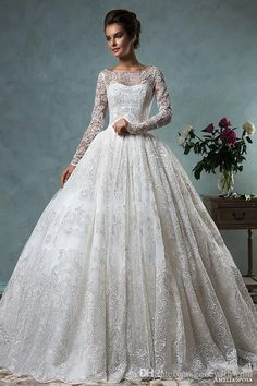 Wedding Dresses Ball Gown Style Lace Wedding Dresses Long Sleeves 2016 From Amelia Sposa Bateau Neckline Ball Gown With 3d Lace Appliques Beautiful Bridal Dresses Expensive Wedding Dresses From Gonewithwind, $418.85  Dhgate.Com