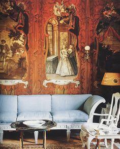 "The ""wallpaper room"", a small salon inside Kåflas castle, Sweden. World of Interiors, July 1994."